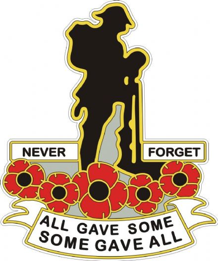 Poppy Car Window Sticker With Soldier and Poppies